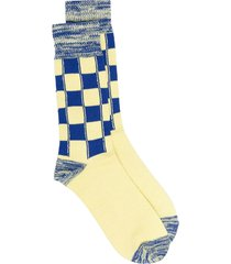 ambush checked long socks - yellow