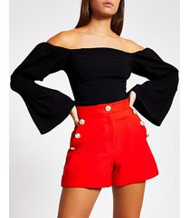 river island womens red button front shorts