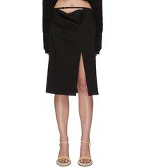 'la jupe drap' foldover waistband side slit skirt