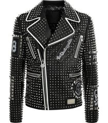 new handmade men stitched studded fashion punk rockers black leather jacket