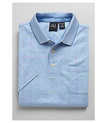 traveler collection traditional fit windowpane plaid short-sleeve men's polo shirt