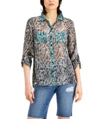 inc international concepts mixed snake-embossed shirt, created for macy's