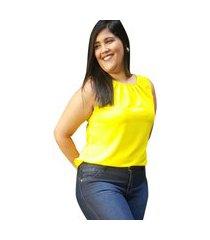 blusa crepe linda d+ regata amarelo (4007)