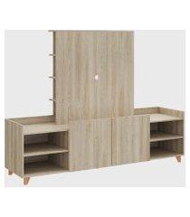 rack c/ painel de tv e estante aveiro/aveiro be mobiliário bege