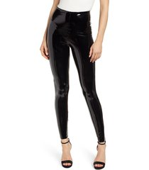 women's commando control top faux patent leather leggings, size x-small - black