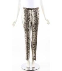 gucci snakeskin print beige gray silk blend straight leg pants beige/gray/animal print sz: xs