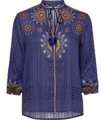 blus salina blouse lange mouwen blauw desigual