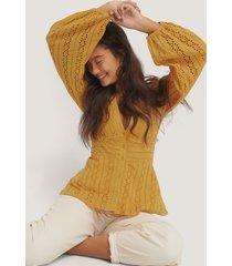 na-kd boho anglaise balloon sleeve blouse - yellow