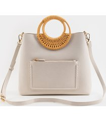 women's gene bamboo circle handle tote in ivory by francesca's - size: one size