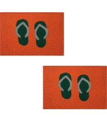 2 capachos p/ porta decorativo 60x40cm chinelo15 - laranja - feminino - dafiti