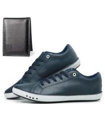 kit sapatênis com carteira mb outlet azul novidade