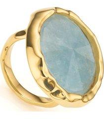gold siren cocktail round ring aquamarine