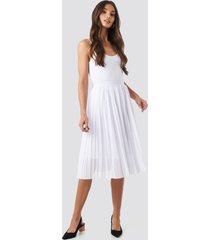 na-kd midi pleated skirt - white
