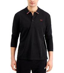 hugo boss men's donol212 long-sleeve logo polo shirt in black