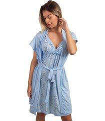 camisola amamentaã§ã£o com robe bella fiore modas azul claro - azul - feminino - poliã©ster - dafiti