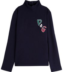 dolce & gabbana cotton sweater with logo patch