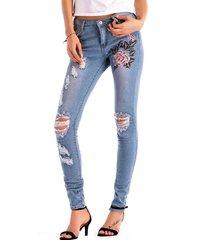 ricamo skinny a vita alta elasticizzato jeans