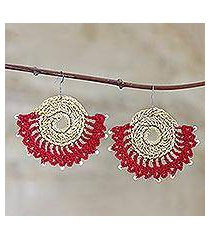 crocheted dangle earrings, 'dancing arc in red' (india)
