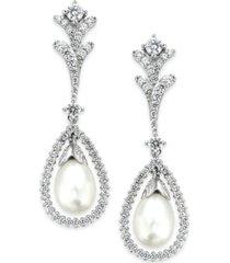 arabella bridal cultured freshwater pearl (7mm) and swarovski zirconia (2 ct. t.w.) drop earrings in sterling silver