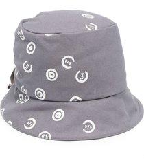 10 corso como logo-print ruched bucket hat - grey