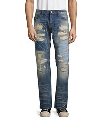 rebel distressed patch straight jeans
