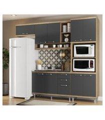 cozinha compacta completa multimóveis com 4 peças sicília 5828 argila/grafite
