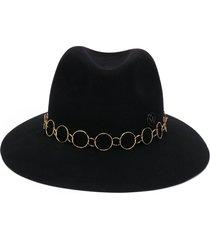 maison michel hoop-detail fedora hat - black