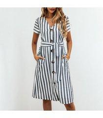 vestido de verano cuello en v estampado rayas gris