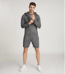 reiss fenton - melange high stretch jersey hoodie in charcoal, mens, size xxl