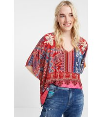boho floral batwing blouse - red - l