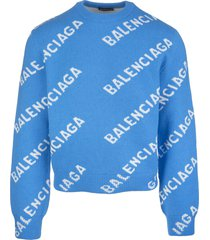 light blue man pullover with white jacquard logo