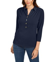 charter club petite 3/4-sleeve polo top, created for macy's