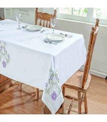 toalha de mesa dourados enxovais dalia 1,40x1,40 branco/lilas