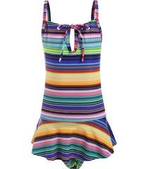 striped tie peplum girls one-piece swimsuit