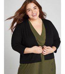 lane bryant women's 3/4-sleeve cropped cardigan 22/24 black