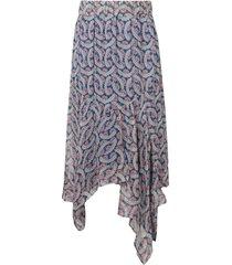 isabel marant étoile sheer printed asymmetric midi skirt - blue