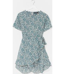 womens floral open back playsuit - sage