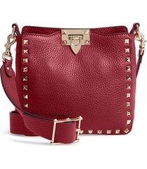 valentino garavani rockstud mini hobo crossbody bag - pink