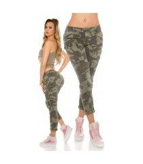 trendy camouflage skinny jeans leger-kleurig