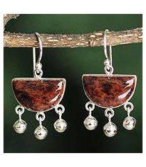mahogany obsidian dangle earrings, 'beautiful universe' (peru)