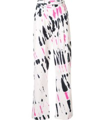 strateas carlucci tie-dye pleated trousers - white