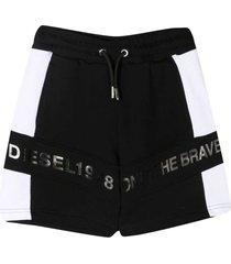 diesel black and white bermuda shorts