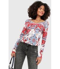camiseta manga larga azul-blanco-rojo desigual,