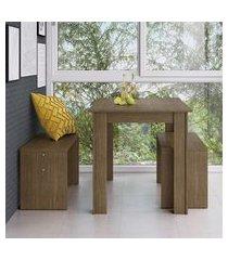 conjunto mesa fixa com 2 bancos móveis canção ameixa negra