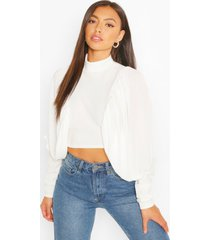 high neck extreme puff sleeve crop top, ivory