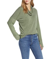 women's loveappella cowl french terry pullover, size large - green