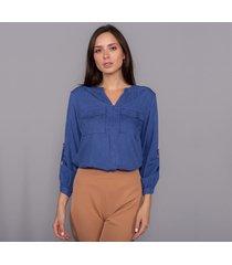 camisa ellen brook manga longa em viscose azul royal - eb-10026 - kanui
