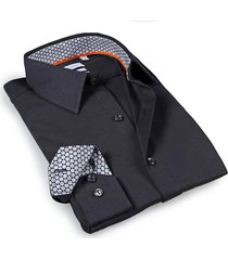 levinas men's tailored-fit dress shirt - charcoal - size 16.5