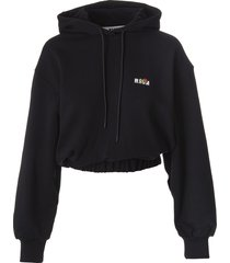 msgm woman black cropped hoodie with micro logo with rose