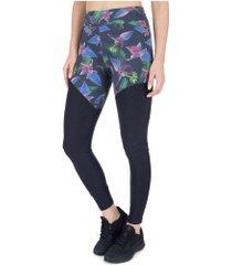 calça legging memo estampa recortes isolda - feminina - preto/verde